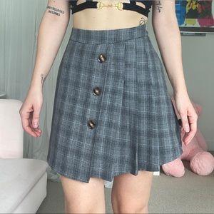 Pleated Grey Mini Skirt